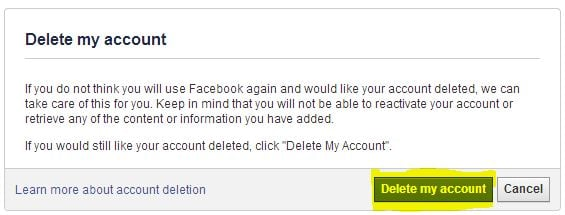 facebook delete