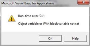 Fix: Runtime error 91