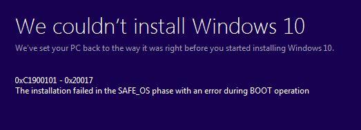 Fix Windows 10 Installation Error 0xc1900101  U2013 0x20017