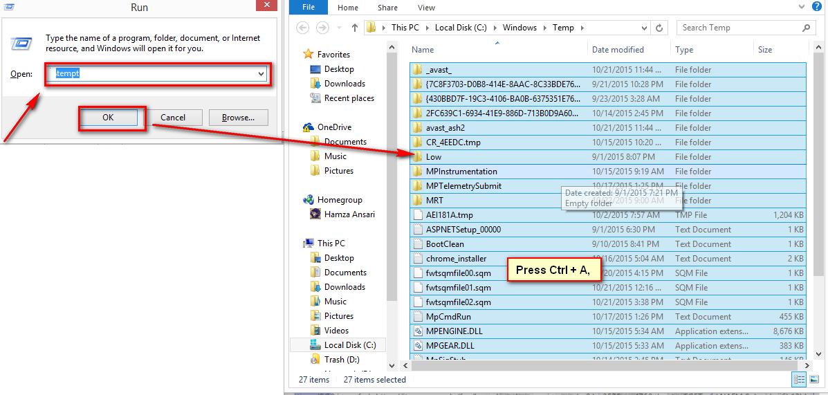 Restore temp files.