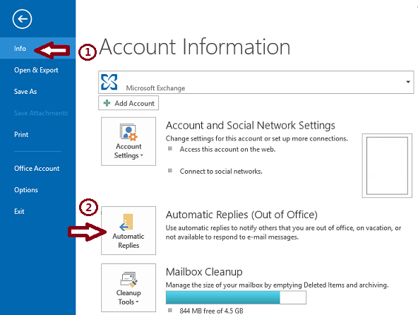 How to setup out of office replies in outlook 2013 2016 and 2010 - Set up out of office in outlook ...