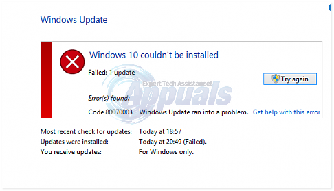 SOLVED: Windows 10 couldn't be installed Error (80070003) - Appuals com