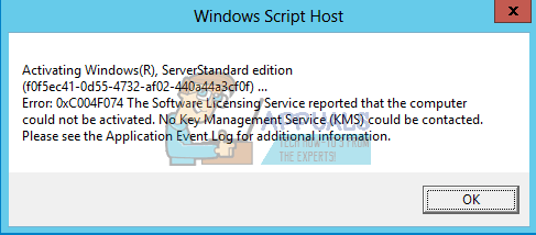 windows activation error 0xc004f074 server 2012