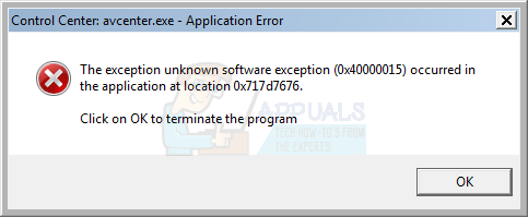 Fix: Unknown software exception (0x40000015) occurred in the
