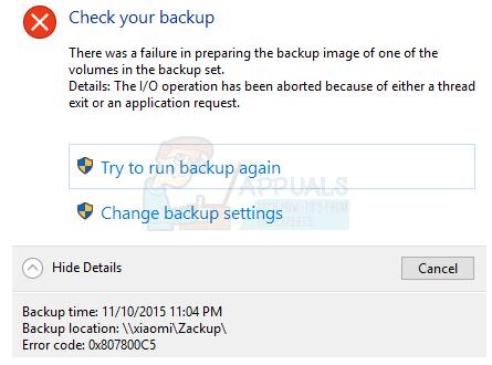 How to Fix Backup Error 0x807800C5 on Windows 10 - Appuals com
