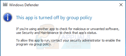 disable windows defender group policy domain