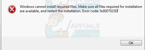 FIX: Windows Cannot Install Required Files 0x8007025D
