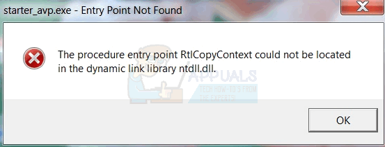 Fix: The procedure entry point 'name' could not be located in the
