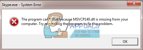 msvcp140.dll is missing fix
