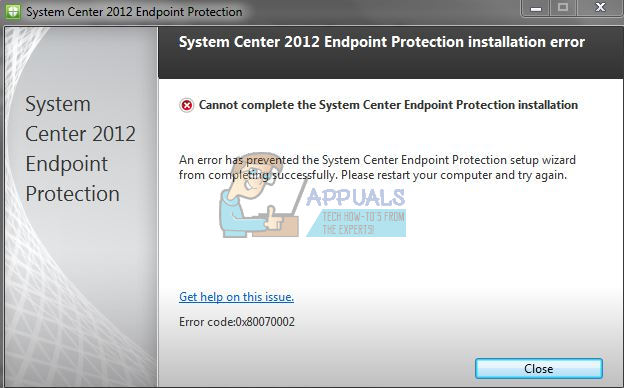 Fix: System Center 2012 Endpoint Installer Error 0x80070002