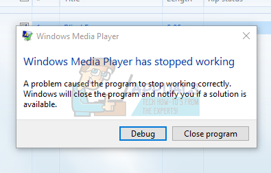 Fix: Windows Media Player has stopped working on Windows 10