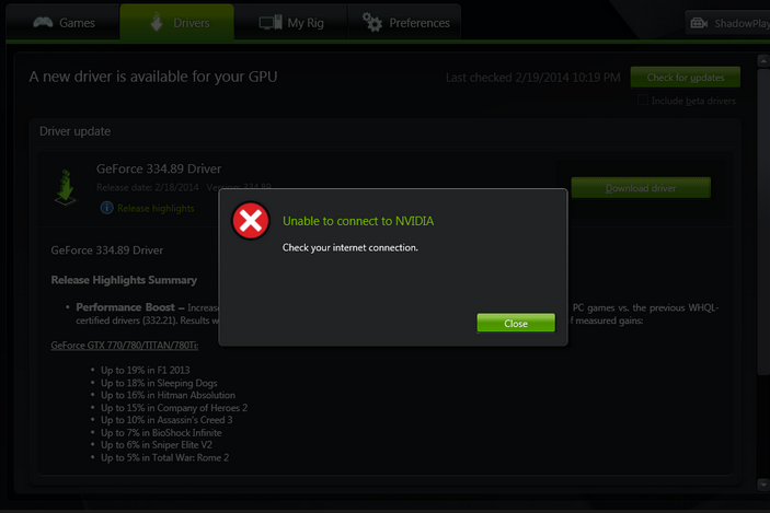 nvidia driver unable to connect