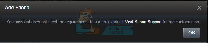 Steam: Your account does not meet the requirements to use this