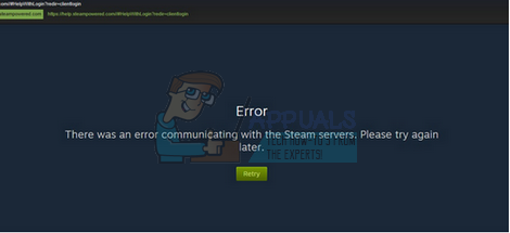 Fix: There was an error communicating with the steam servers