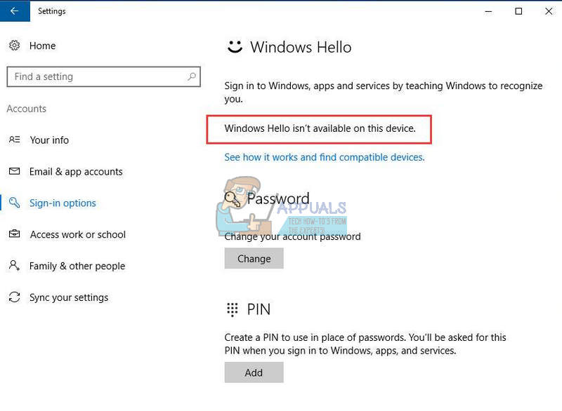 Fix: Windows Hello isn't available on this Device - Appuals com