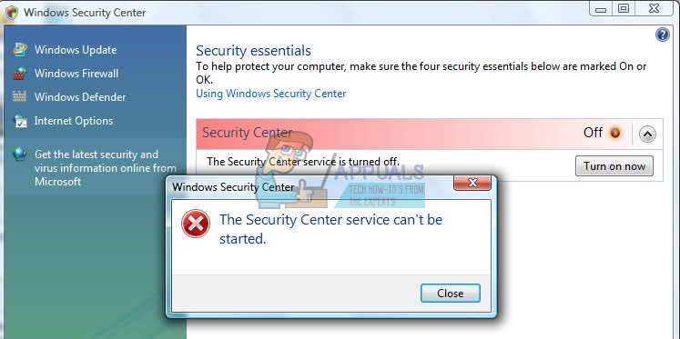 Fix: The Windows Security Center Service Can\u0027t be Started - Appuals.com