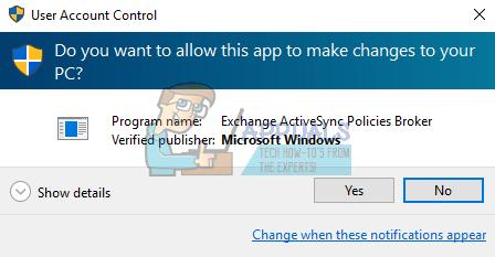 Fix: Disable 'exchange activesync policies broker' Dialog on Windows