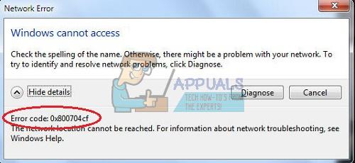 fix network error 0x800704cf appuals com