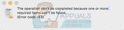 Fix: Error Code 43 on MacOS - Appuals.com