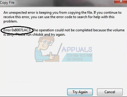 How to Fix Error 0X80071AC3 'The Volume is Dirty' - Appuals com