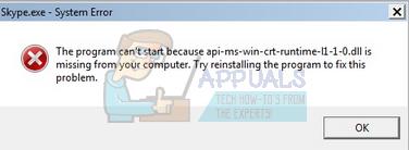 Fix: api-ms-win-crt-runtime-l1-1-0 dll is missing on Windows