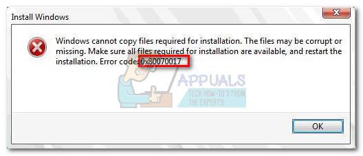 Fix  Windows Installation Error 0x80070017