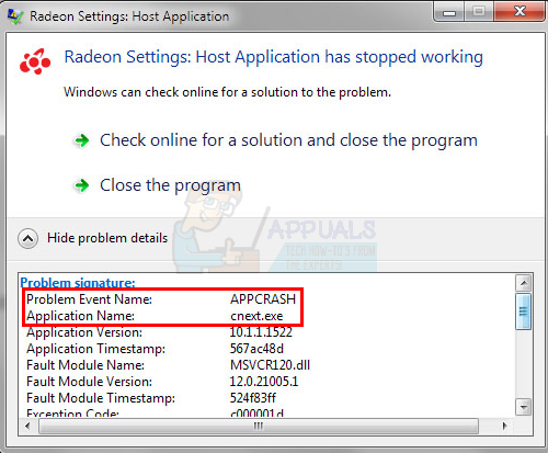 Fix: Radeon Settings Host Application Stopped Working 'cnext exe