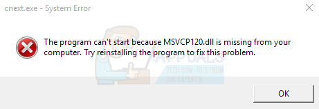 Fix: Cnext exe cannot start because MSVCP120 dll or Qt5Core