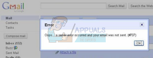 gmail serverfout 007