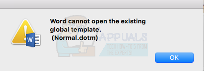Fix: Word cannot open the existing global template 'Normal