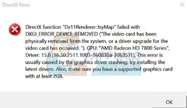 Fix: DXGI_ERROR_DEVICE_REMOVED - Appuals com