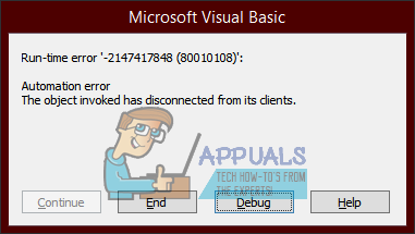 Fix: The Object Invoked Has Disconnected from its Clients - Appuals.com