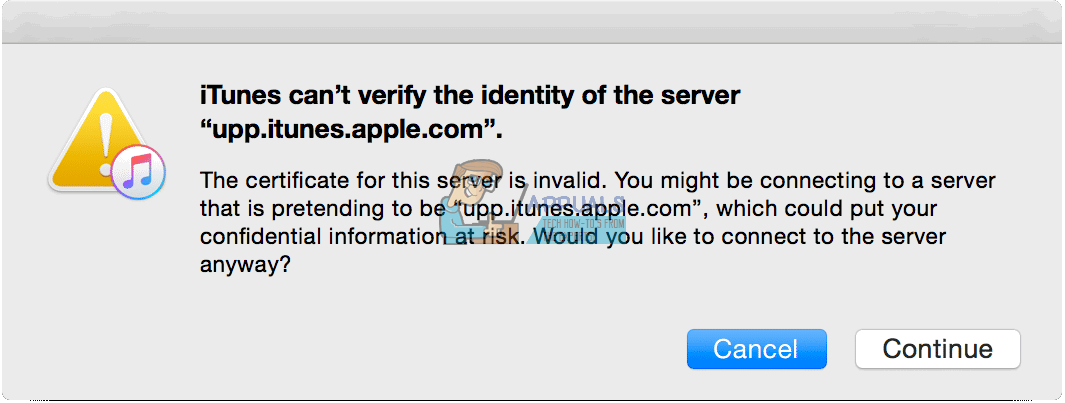 Fix: iTunes can\'t verify the Identity of the server - Appuals.com