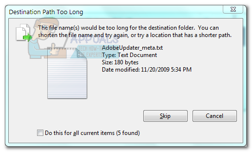 Fix: Destination path too long error - Appuals com