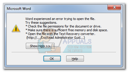 file permission error word 2016