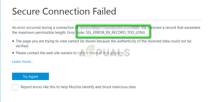 occurs because the SSL traffic is not setup correctly in the target secure server Fix: SSL_ERROR_RX_RECORD_TOO_LONG