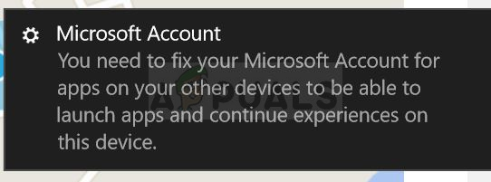 you need to fix your microsoft account for apps on your devices