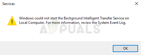Fix: Windows could not start the Background Intelligent Transfer