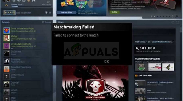 Cs go is not connected to matchmaking servers