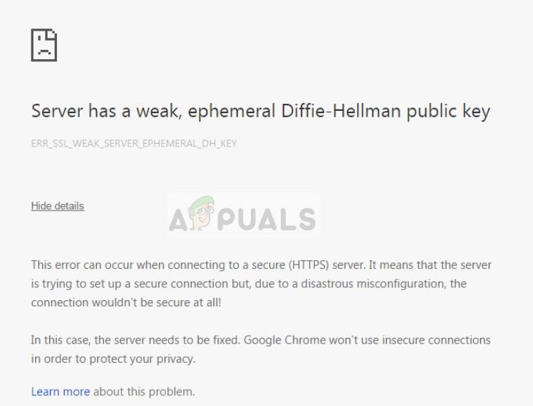 Server has a weak ephemeral Diffie-Hellman public key