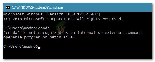 Fix: 'conda' is not recognized as an internal or external