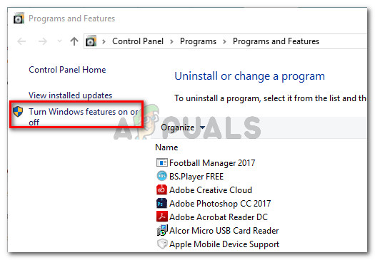 In Programs and Features, click on Turn Windows Features On or Off