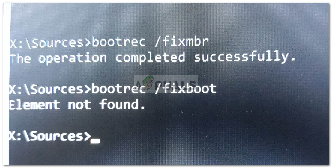 Fix: Boorec /Fixboot Element Not Found on Windows 10