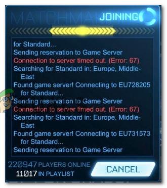 Fix: Error 67 Rocket League - Appuals com