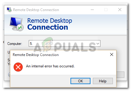 Fix: Remote Desktop Connection 'Internal Error has Occurred
