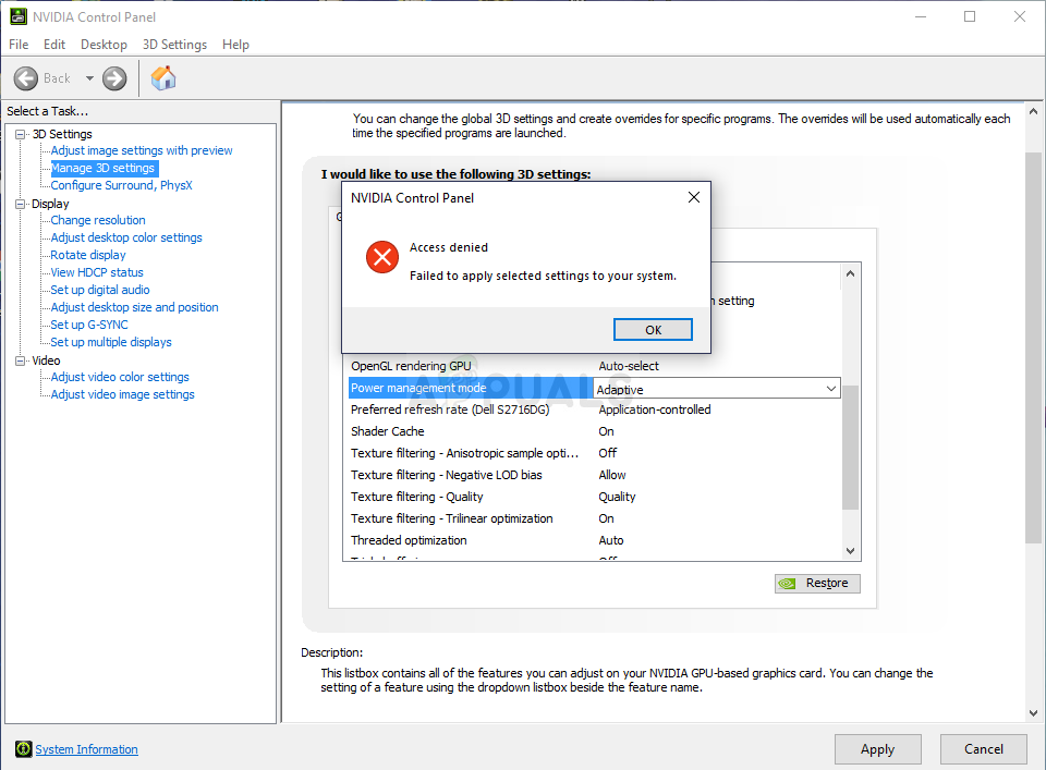 Fix: Access Denied in NVIDIA Control Panel - Appuals com