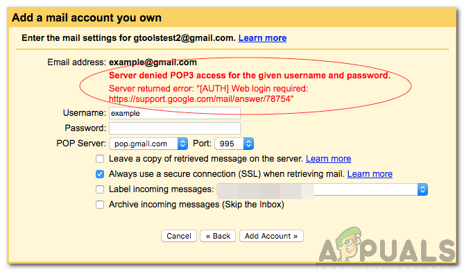 How to Fix 'Server Denied POP3 Access for the Given Username