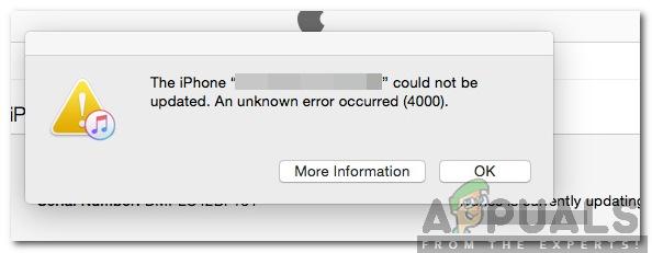 How to Fix 'Update Error 4000' on iPhone? - Appuals com